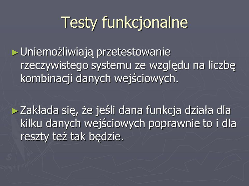 Testy funkcjonalne Uniemożliwiają przetestowanie rzeczywistego systemu ze względu na liczbę kombinacji danych wejściowych.