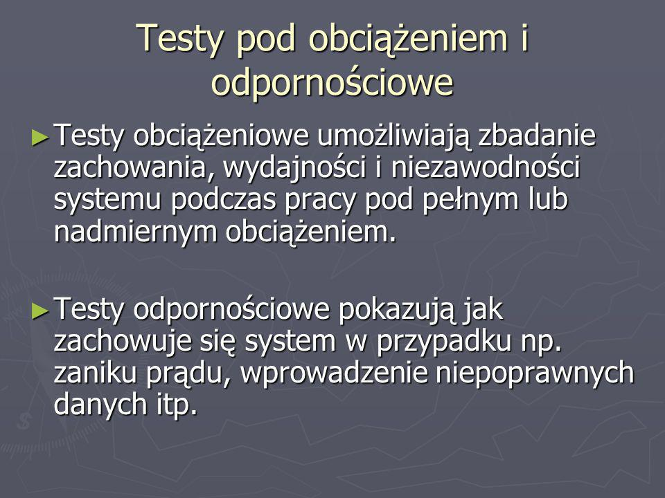 Testy pod obciążeniem i odpornościowe