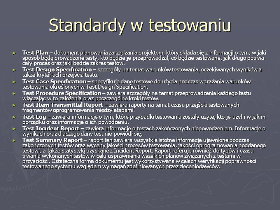Standardy w testowaniu