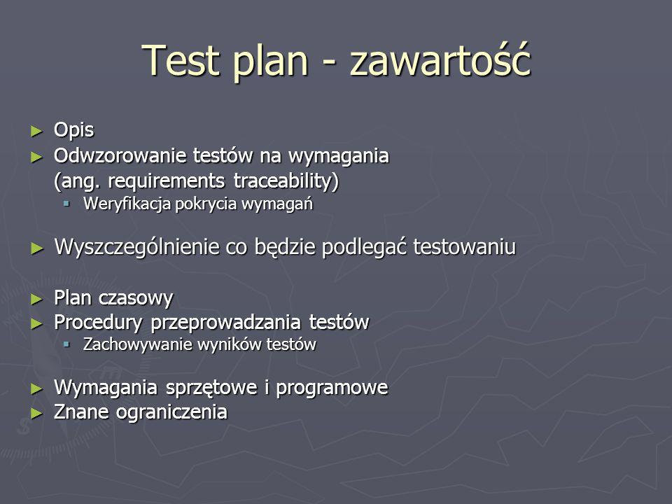 Test plan - zawartość (ang. requirements traceability)