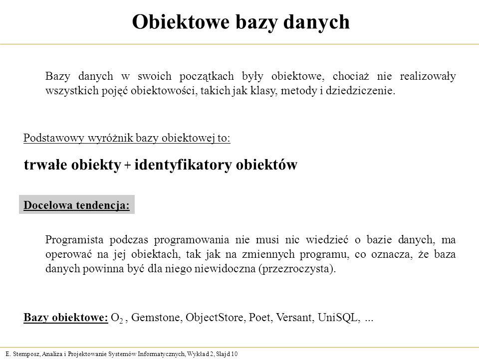 Obiektowe bazy danych trwałe obiekty + identyfikatory obiektów