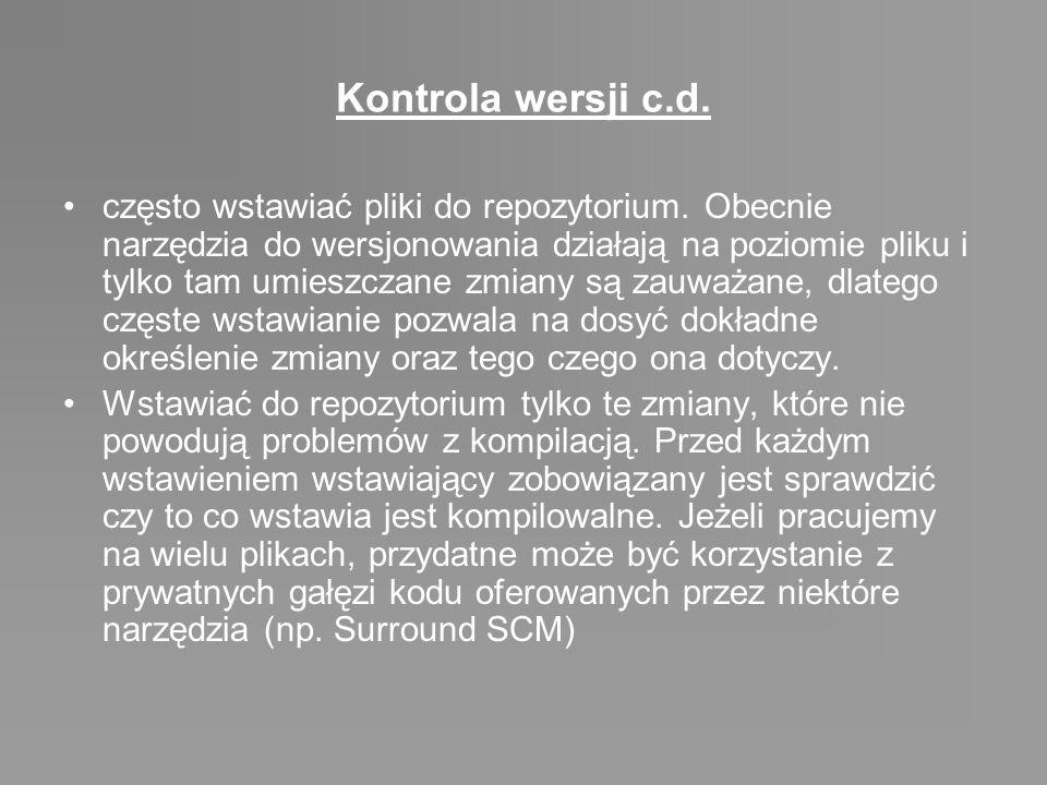 Kontrola wersji c.d.