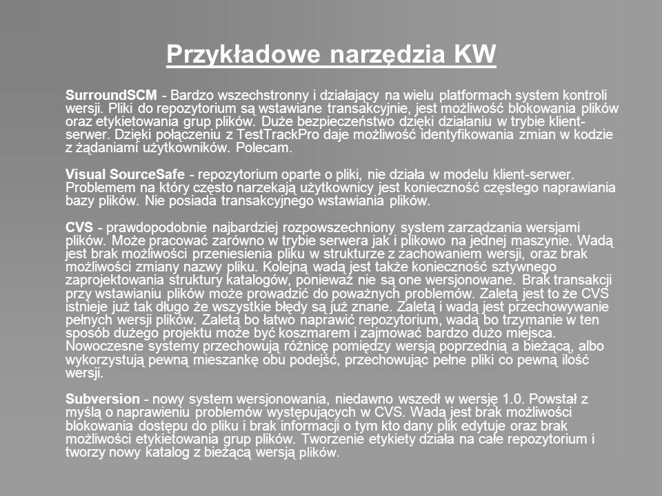 Przykładowe narzędzia KW