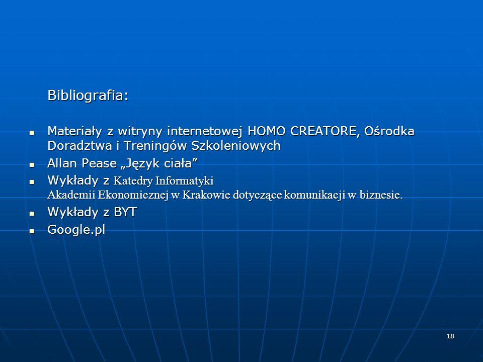 Bibliografia: Materiały z witryny internetowej HOMO CREATORE, Ośrodka Doradztwa i Treningów Szkoleniowych.