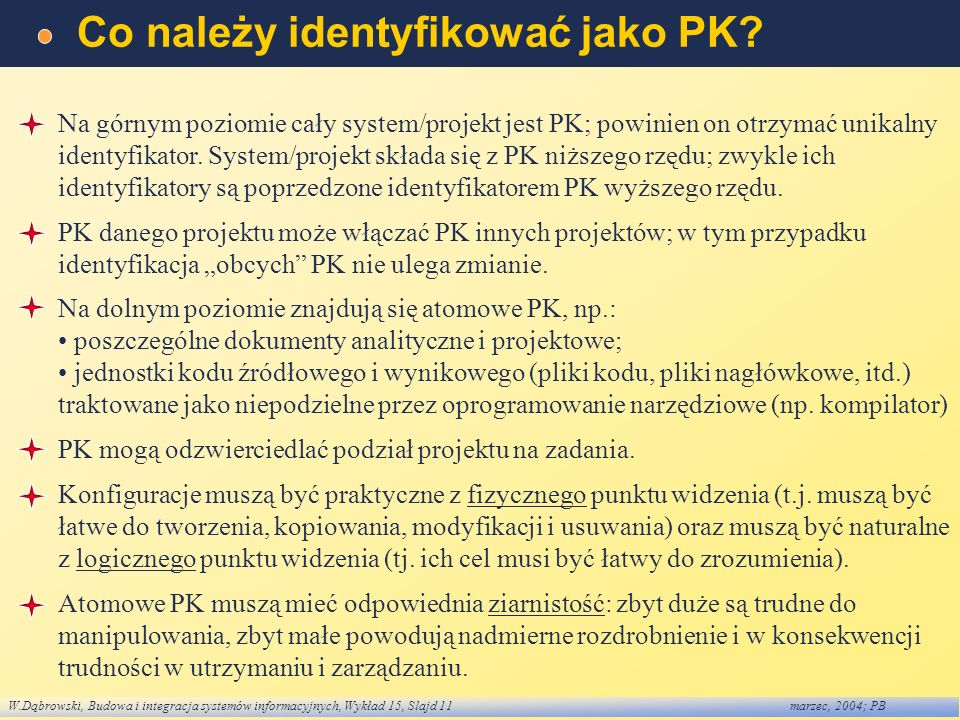 Co należy identyfikować jako PK