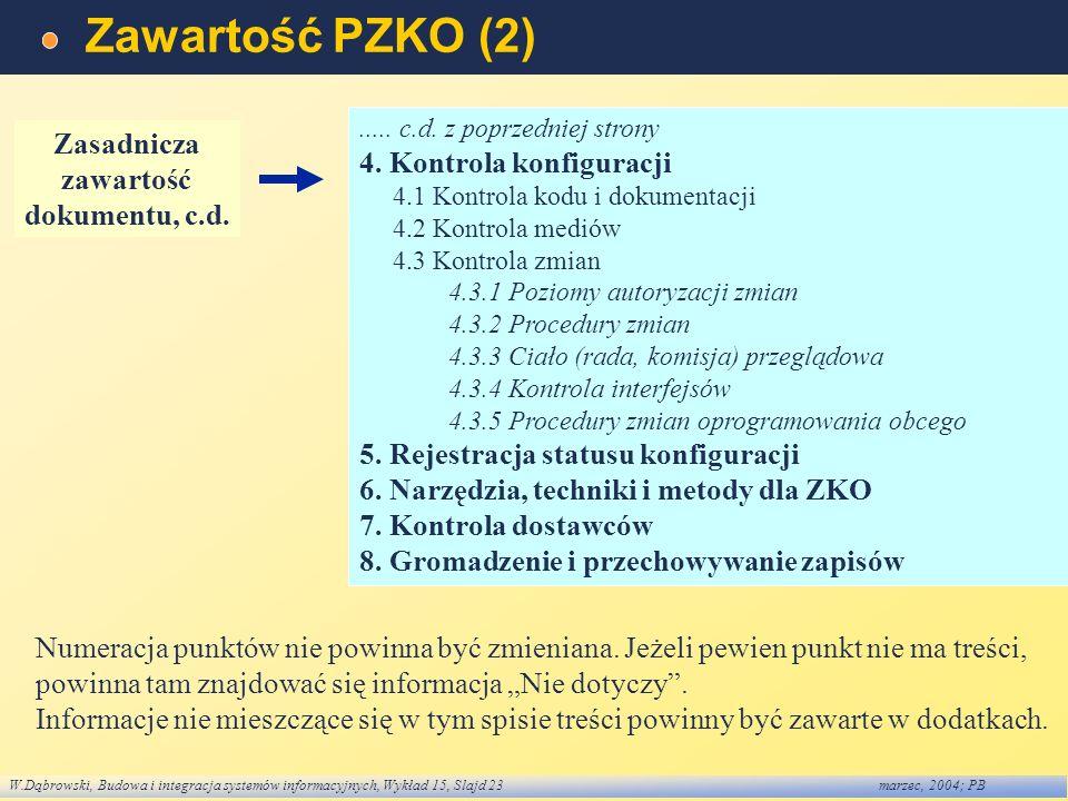 Zawartość PZKO (2) Zasadnicza 4. Kontrola konfiguracji zawartość