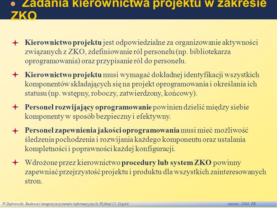 Zadania kierownictwa projektu w zakresie ZKO