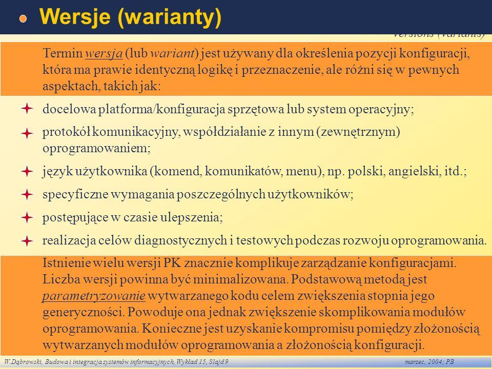 Wersje (warianty) versions (variants)