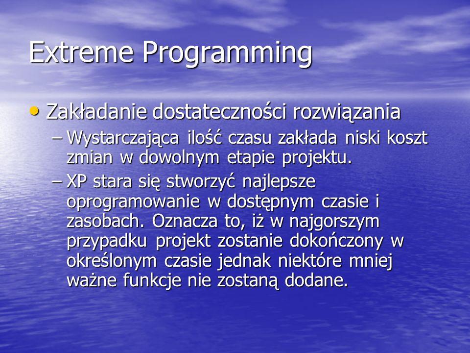 Extreme Programming Zakładanie dostateczności rozwiązania