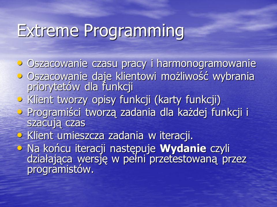 Extreme Programming Oszacowanie czasu pracy i harmonogramowanie