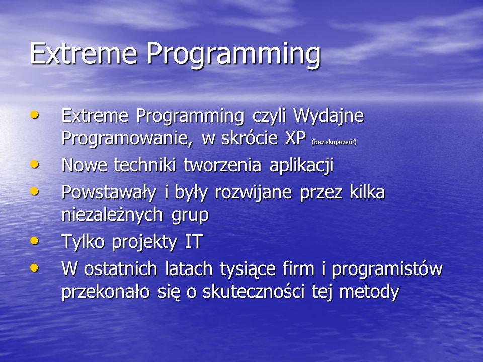 Extreme Programming Extreme Programming czyli Wydajne Programowanie, w skrócie XP (bez skojarzeń!) Nowe techniki tworzenia aplikacji.