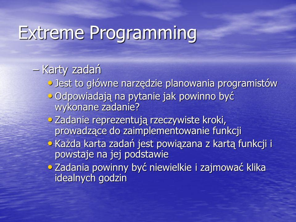 Extreme Programming Karty zadań