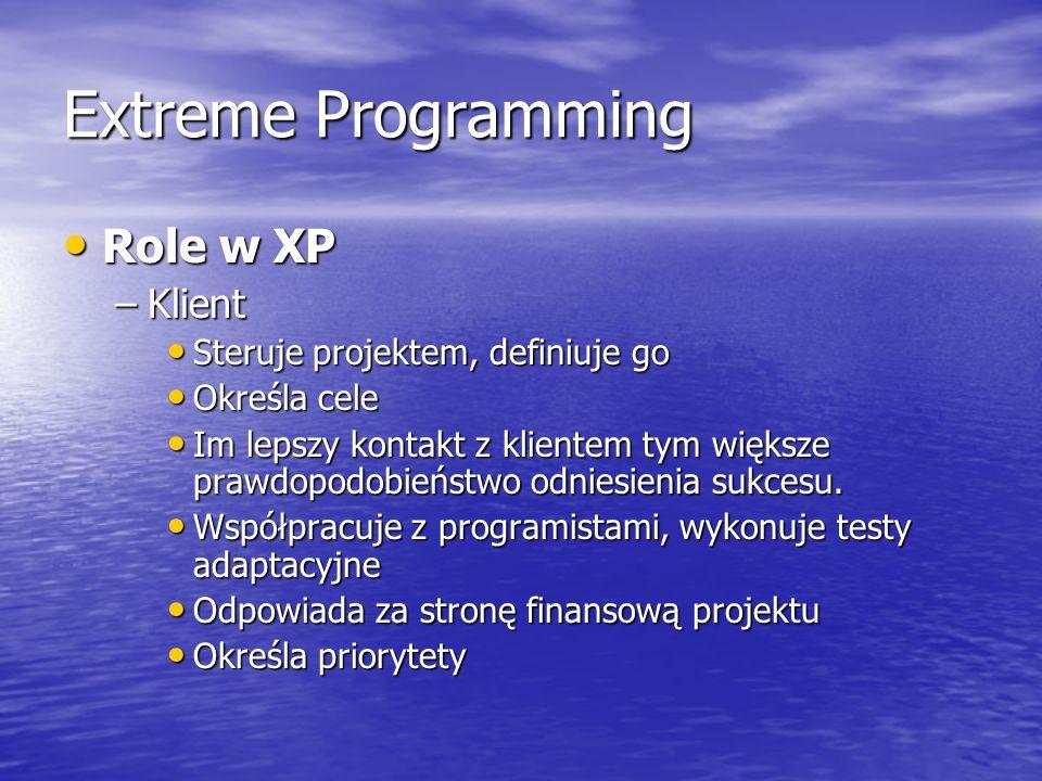 Extreme Programming Role w XP Klient Steruje projektem, definiuje go