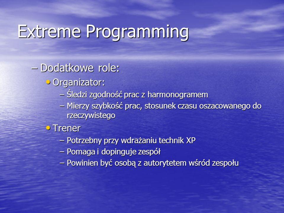 Extreme Programming Dodatkowe role: Organizator: Trener