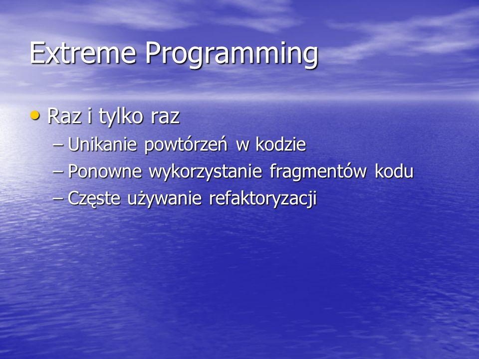 Extreme Programming Raz i tylko raz Unikanie powtórzeń w kodzie