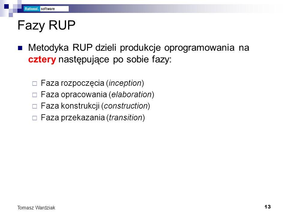 Fazy RUP Metodyka RUP dzieli produkcje oprogramowania na cztery następujące po sobie fazy: Faza rozpoczęcia (inception)