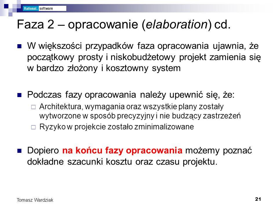 Faza 2 – opracowanie (elaboration) cd.