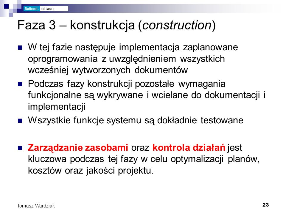 Faza 3 – konstrukcja (construction)