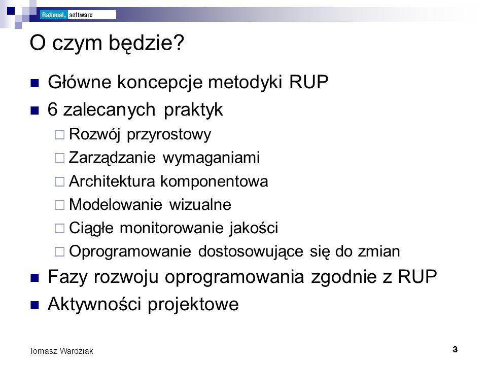O czym będzie Główne koncepcje metodyki RUP 6 zalecanych praktyk