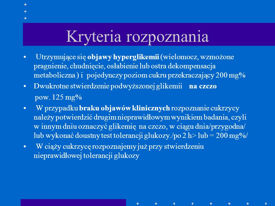 Kryteria rozpoznania