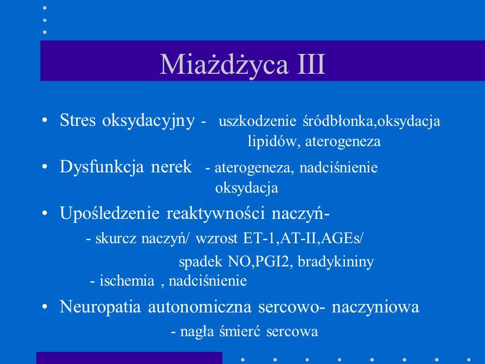 Miażdżyca III Stres oksydacyjny - uszkodzenie śródbłonka,oksydacja lipidów, aterogeneza.
