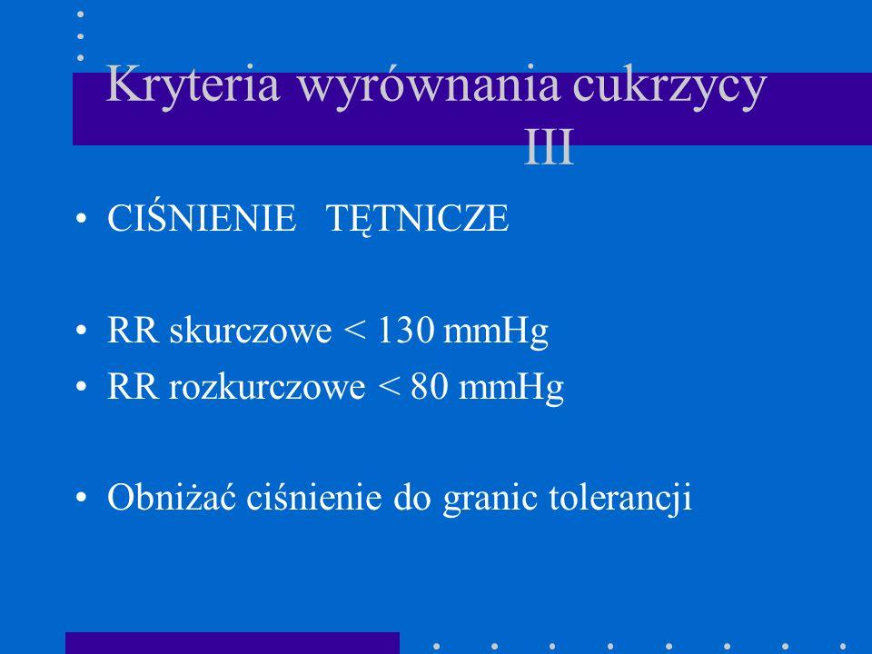 Kryteria wyrównania cukrzycy III