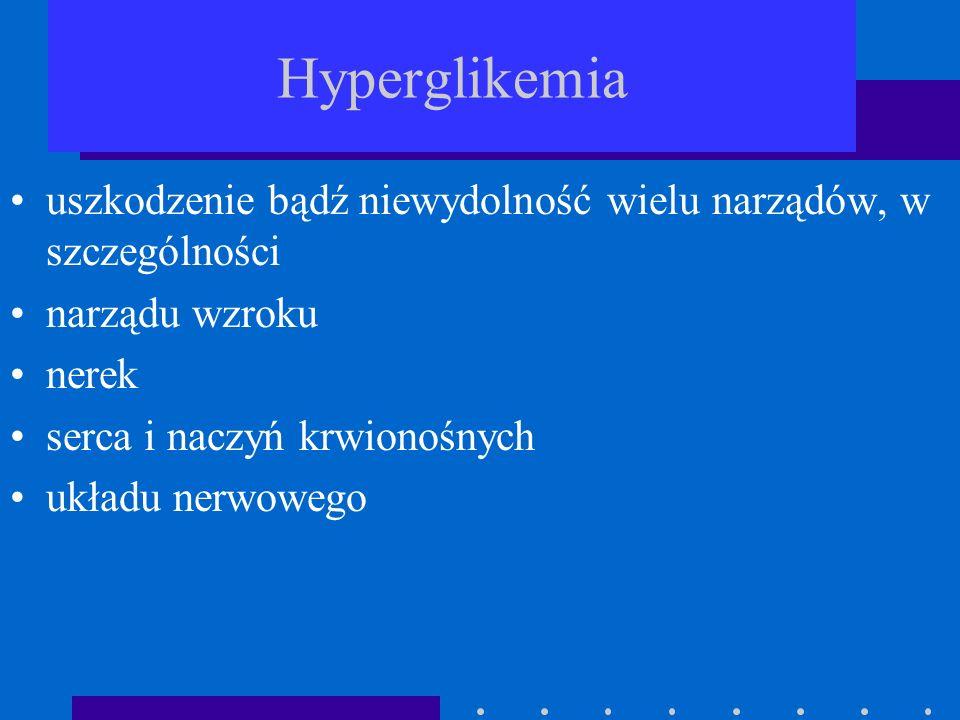 Hyperglikemiauszkodzenie bądź niewydolność wielu narządów, w szczególności. narządu wzroku. nerek. serca i naczyń krwionośnych.