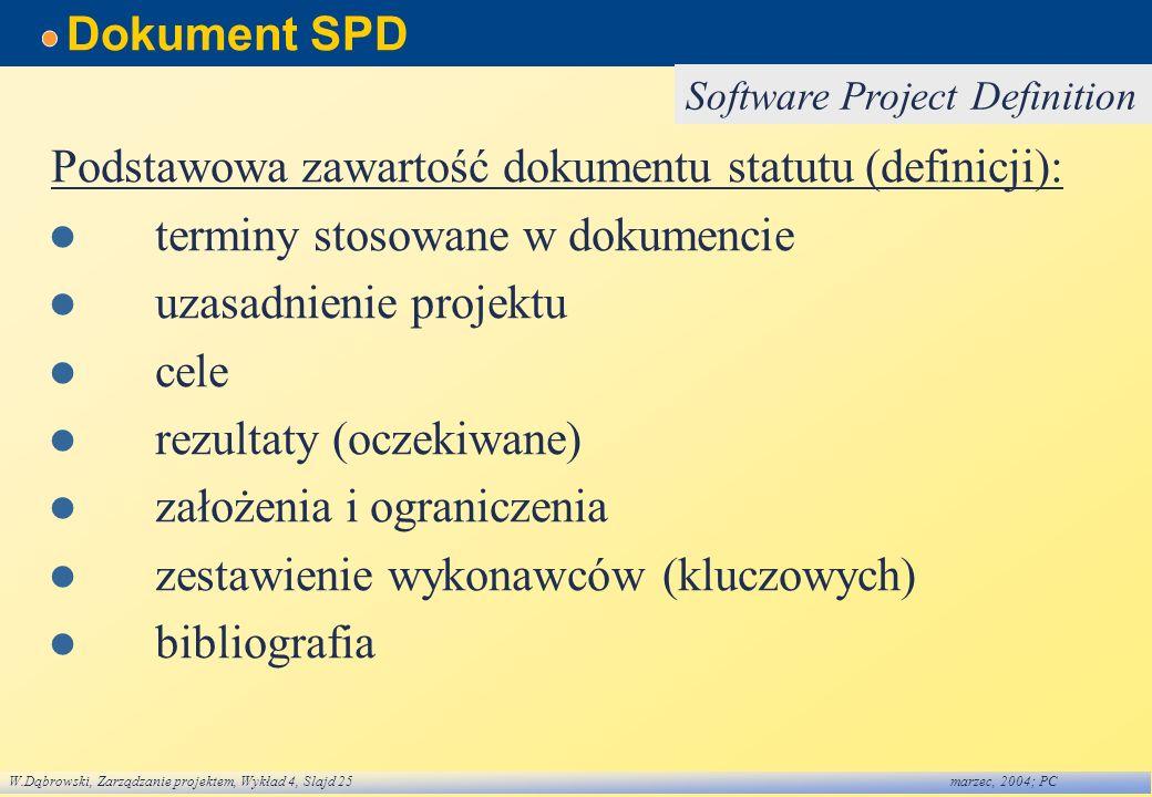 Podstawowa zawartość dokumentu statutu (definicji):
