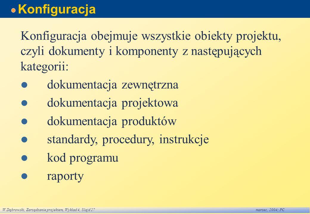 Konfiguracja Konfiguracja obejmuje wszystkie obiekty projektu, czyli dokumenty i komponenty z następujących kategorii: