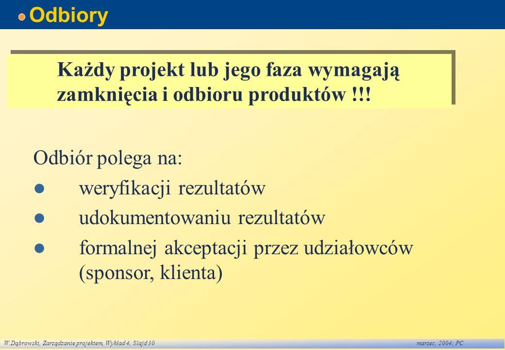 Odbiory Każdy projekt lub jego faza wymagają zamknięcia i odbioru produktów !!! Odbiór polega na: weryfikacji rezultatów.