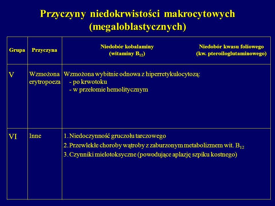 Przyczyny niedokrwistości makrocytowych (megaloblastycznych)