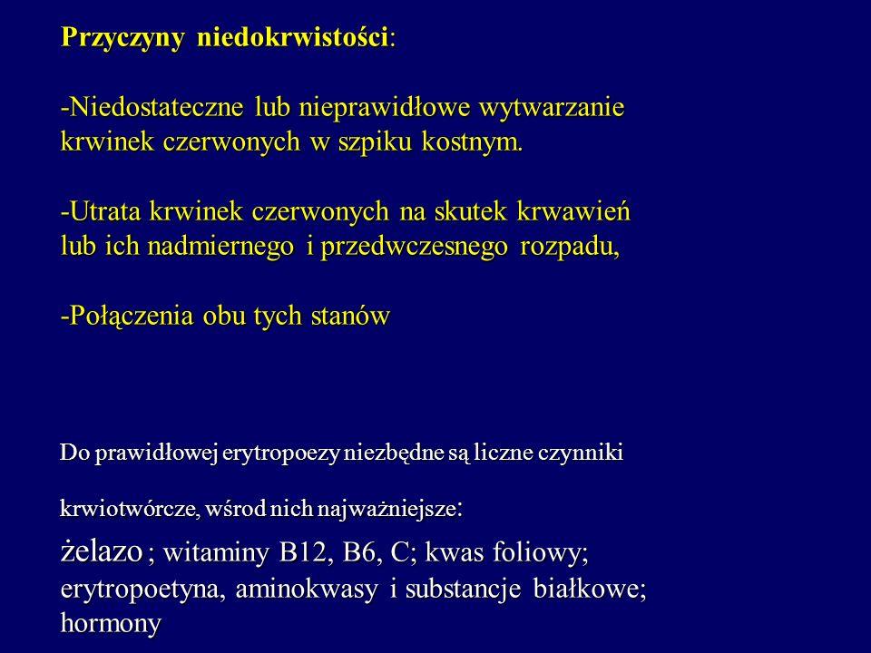NIEDOKRWISTOŚCI Przyczyny niedokrwistości: -Niedostateczne lub nieprawidłowe wytwarzanie krwinek czerwonych w szpiku kostnym.