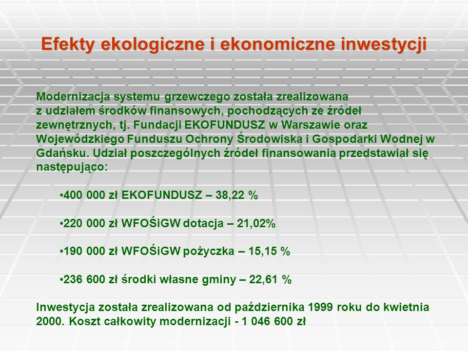 Efekty ekologiczne i ekonomiczne inwestycji