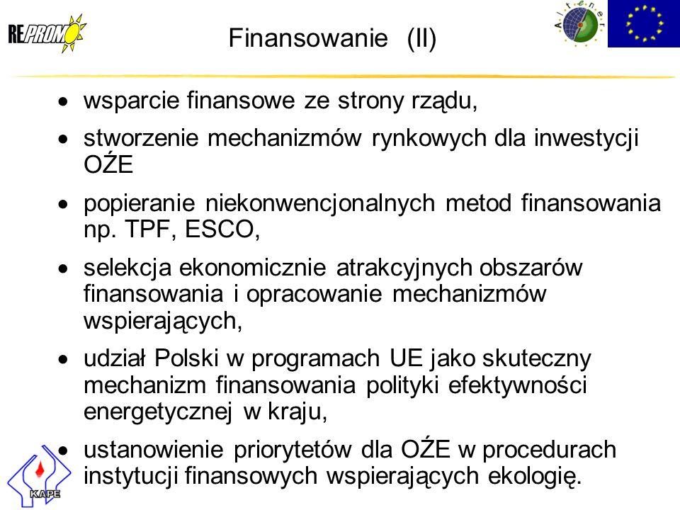 Finansowanie (II) wsparcie finansowe ze strony rządu,