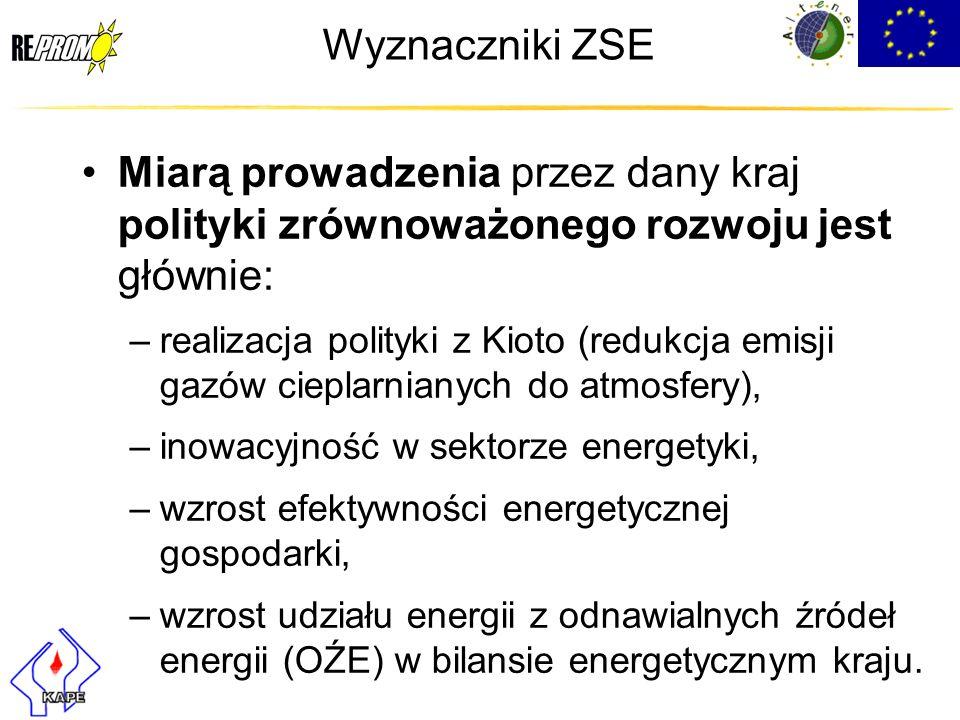 Wyznaczniki ZSE Miarą prowadzenia przez dany kraj polityki zrównoważonego rozwoju jest głównie: