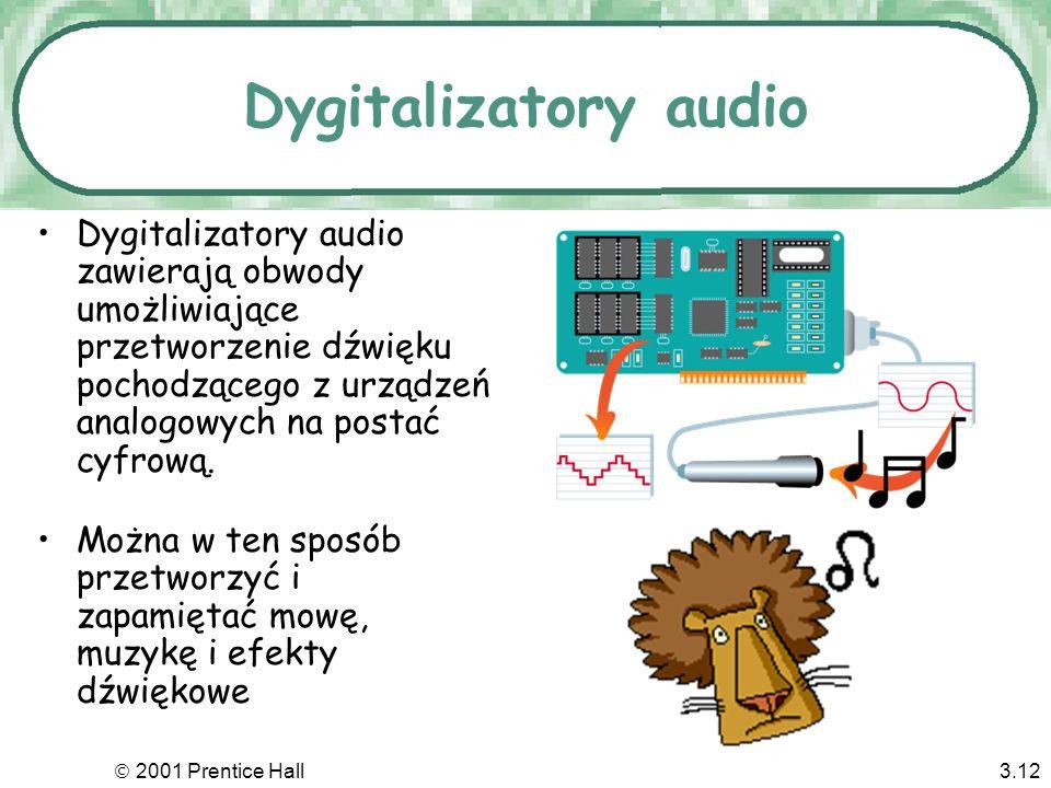 Dygitalizatory audio Dygitalizatory audio zawierają obwody umożliwiające przetworzenie dźwięku pochodzącego z urządzeń analogowych na postać cyfrową.