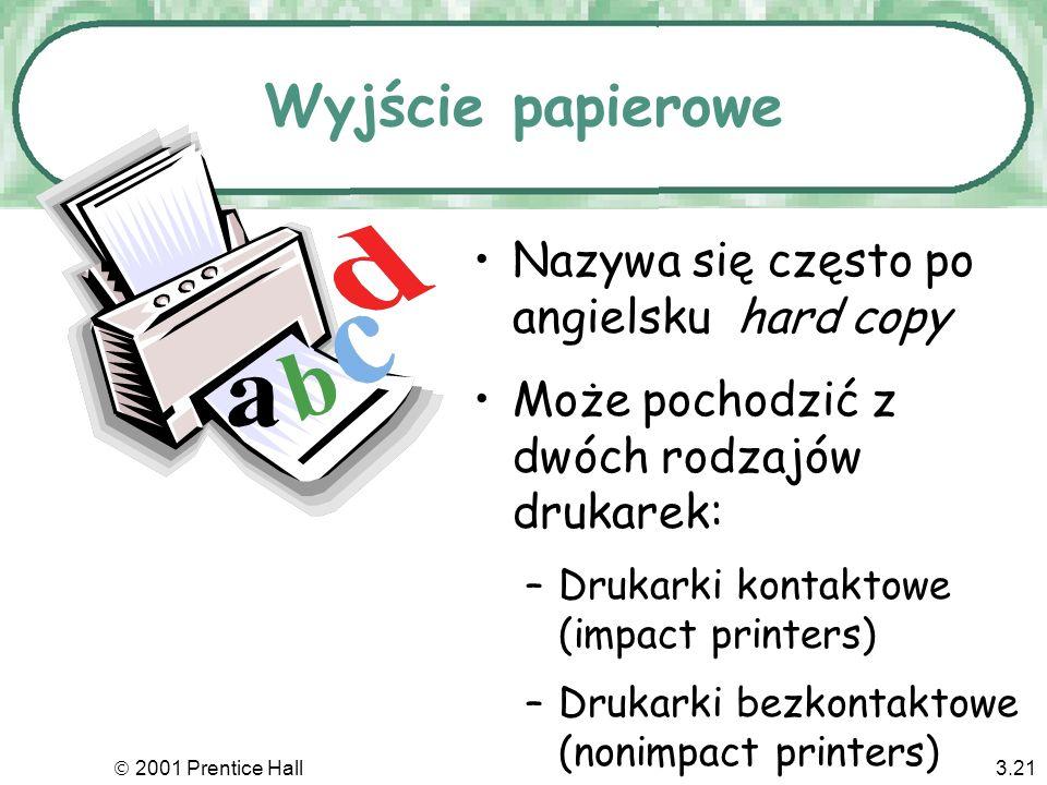 Wyjście papierowe Nazywa się często po angielsku hard copy