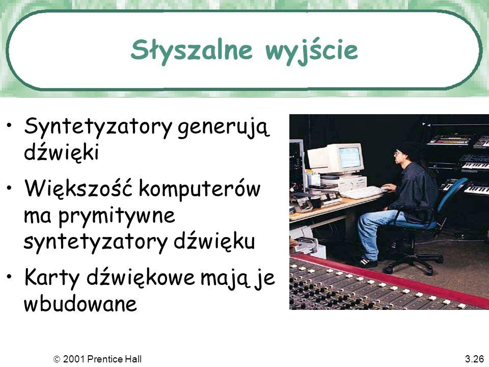 Słyszalne wyjście Syntetyzatory generują dźwięki