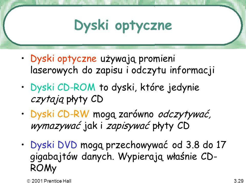 Dyski optyczne Dyski optyczne używają promieni laserowych do zapisu i odczytu informacji. Dyski CD-ROM to dyski, które jedynie czytają płyty CD.
