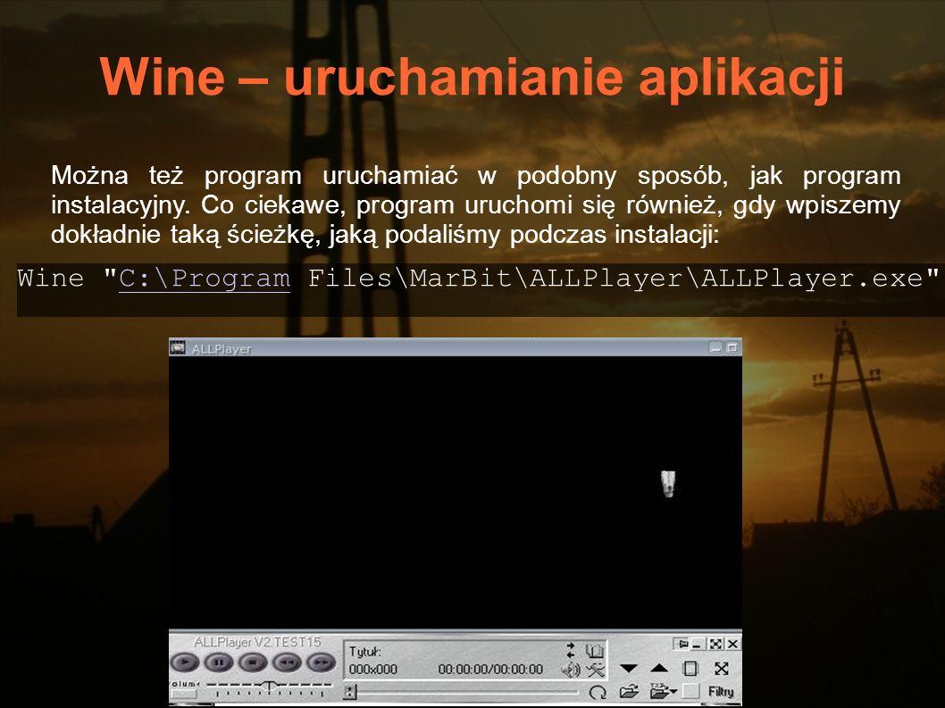 Wine – uruchamianie aplikacji