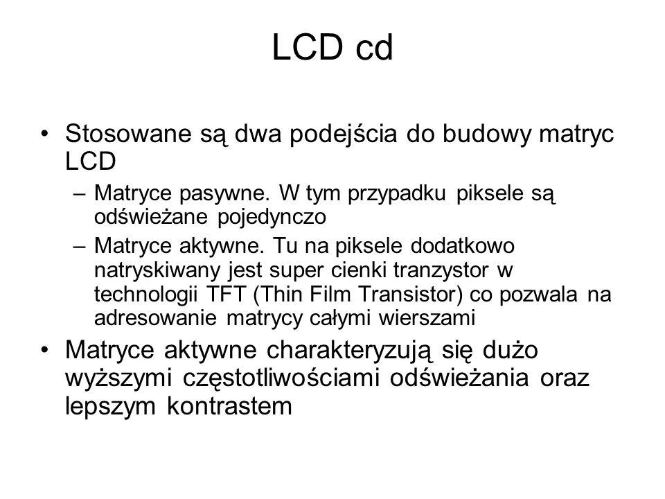 LCD cd Stosowane są dwa podejścia do budowy matryc LCD