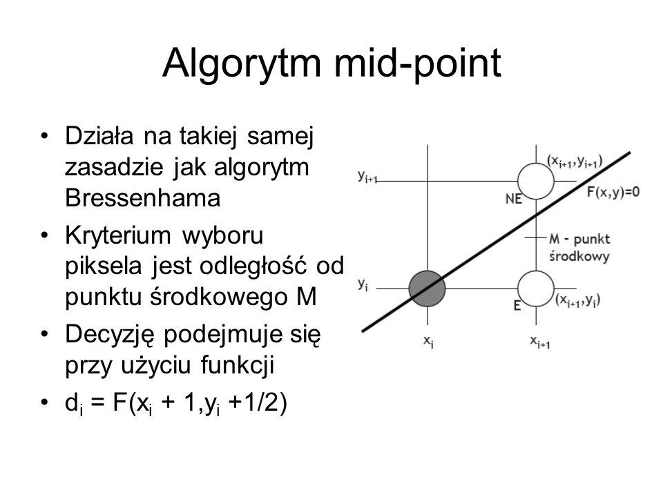 Algorytm mid-point Działa na takiej samej zasadzie jak algorytm Bressenhama. Kryterium wyboru piksela jest odległość od punktu środkowego M.