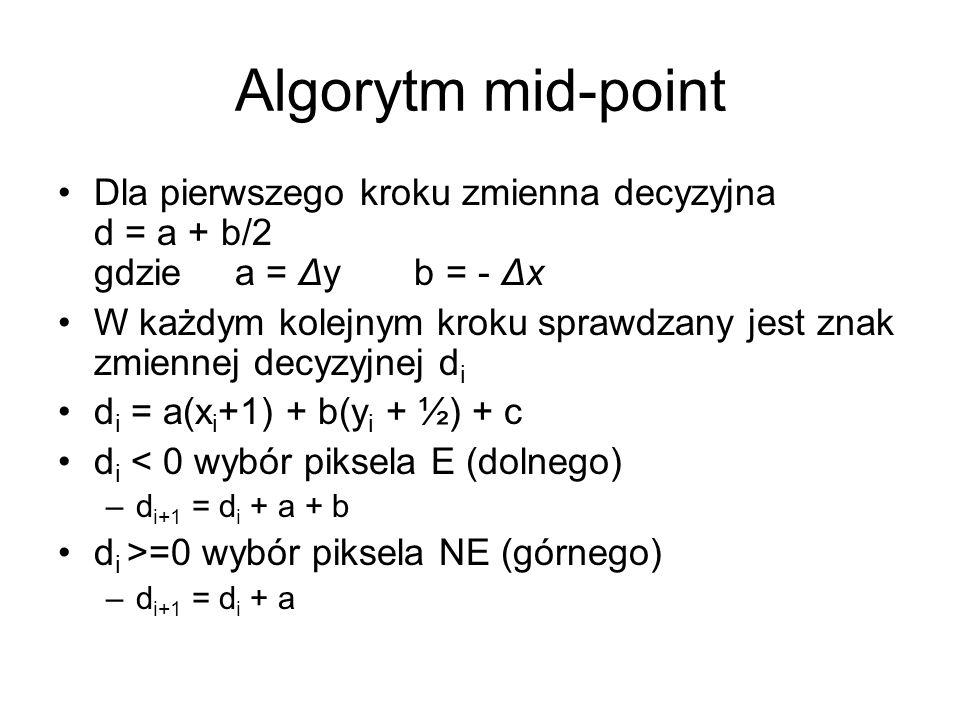 Algorytm mid-point Dla pierwszego kroku zmienna decyzyjna d = a + b/2 gdzie a = Δy b = - Δx.
