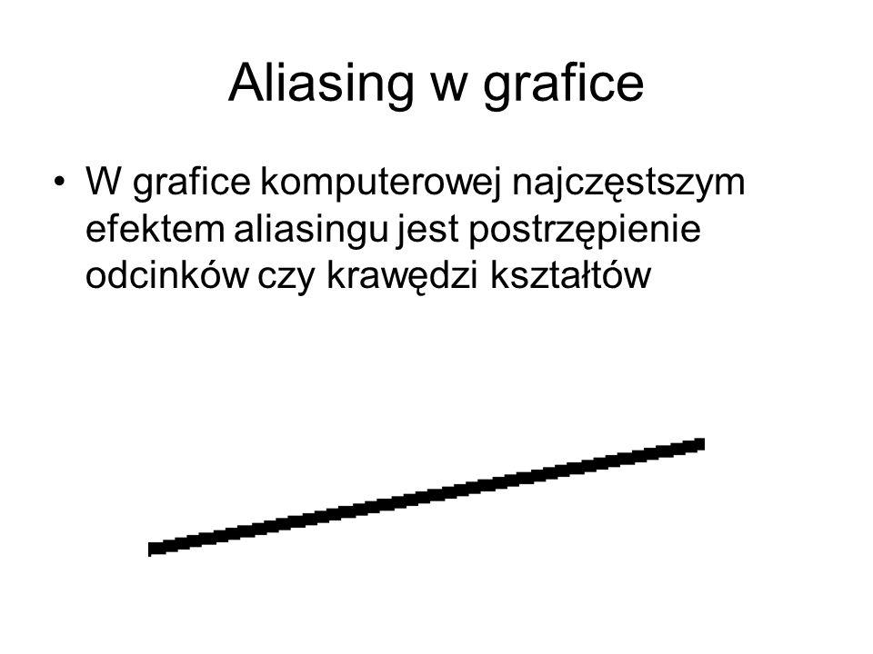 Aliasing w grafice W grafice komputerowej najczęstszym efektem aliasingu jest postrzępienie odcinków czy krawędzi kształtów.