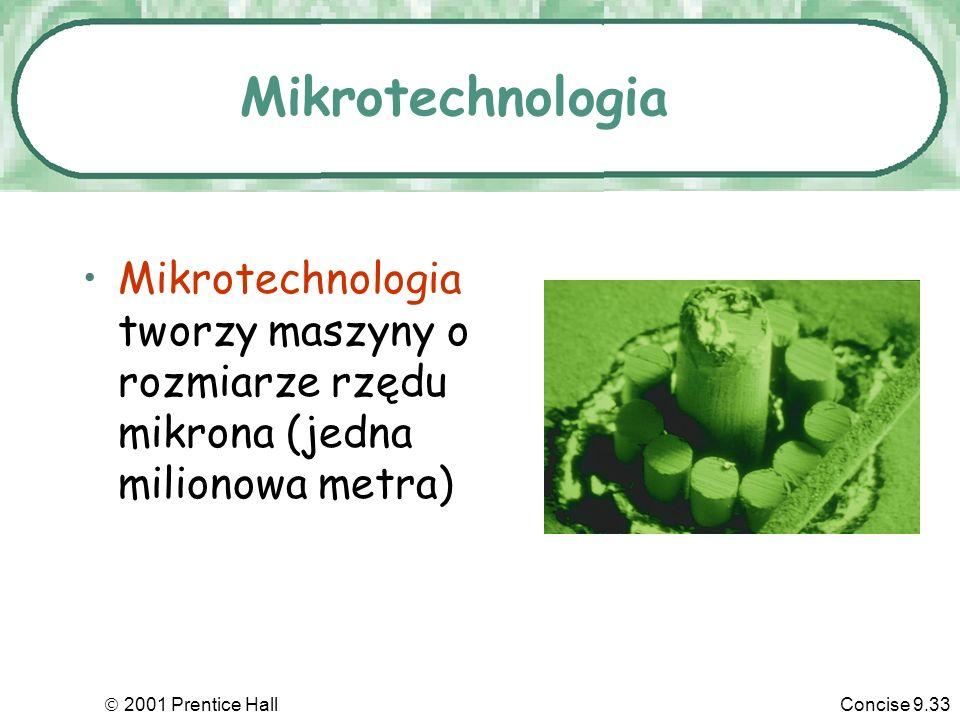 Mikrotechnologia Mikrotechnologia tworzy maszyny o rozmiarze rzędu mikrona (jedna milionowa metra)  2001 Prentice Hall.