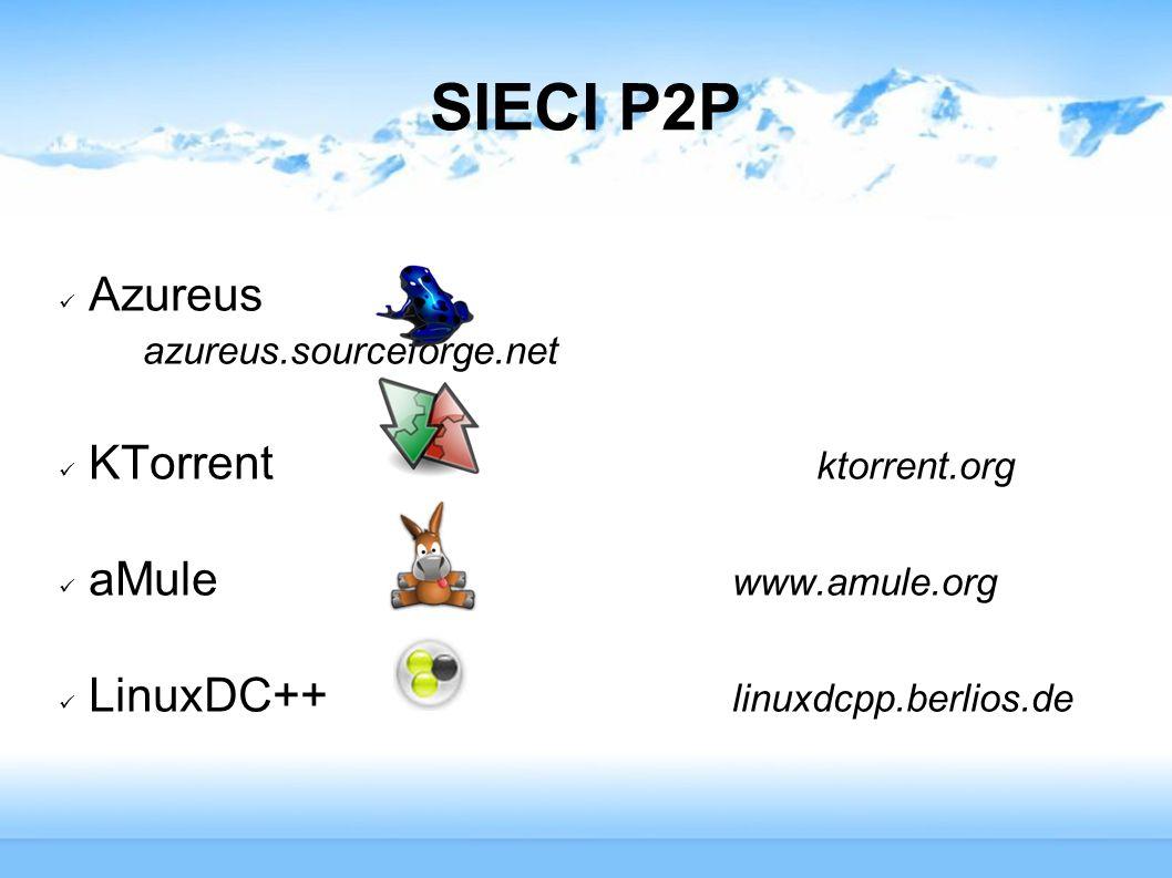 SIECI P2P Azureus azureus.sourceforge.net KTorrent ktorrent.org