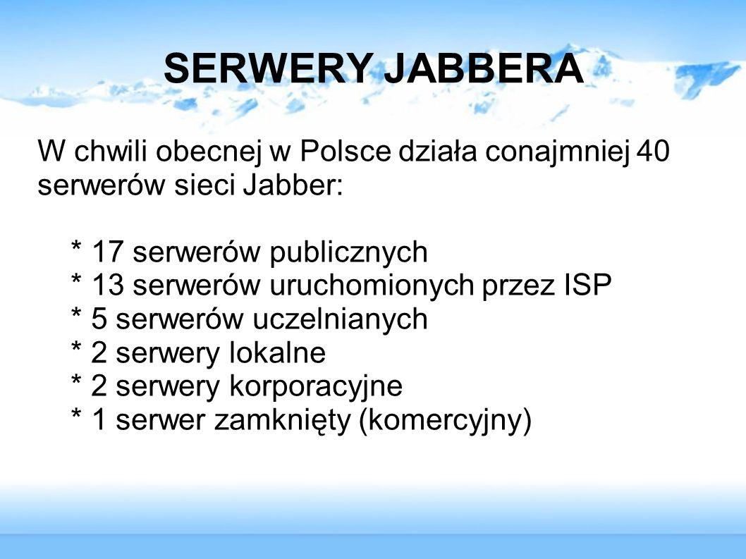 SERWERY JABBERA W chwili obecnej w Polsce działa conajmniej 40 serwerów sieci Jabber: * 17 serwerów publicznych.