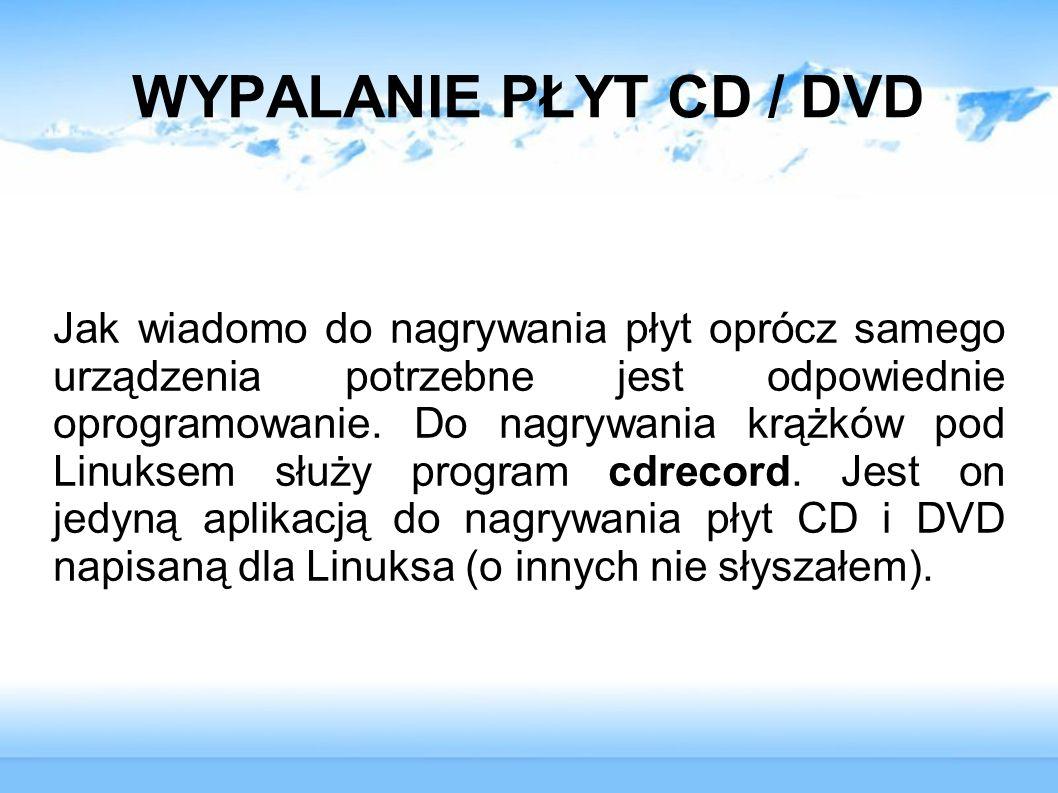 WYPALANIE PŁYT CD / DVD