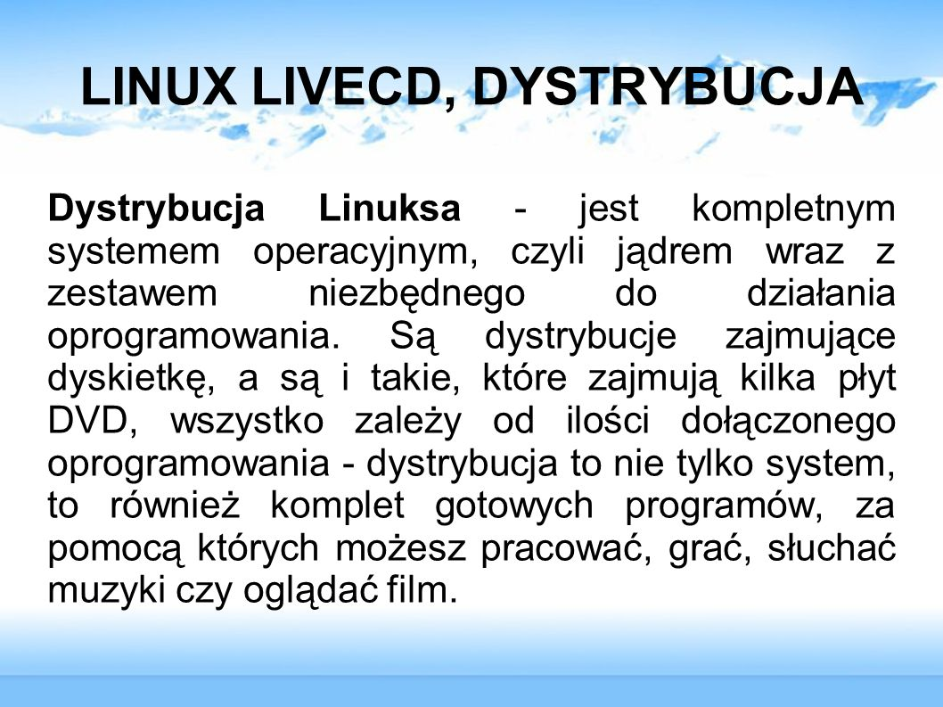 LINUX LIVECD, DYSTRYBUCJA