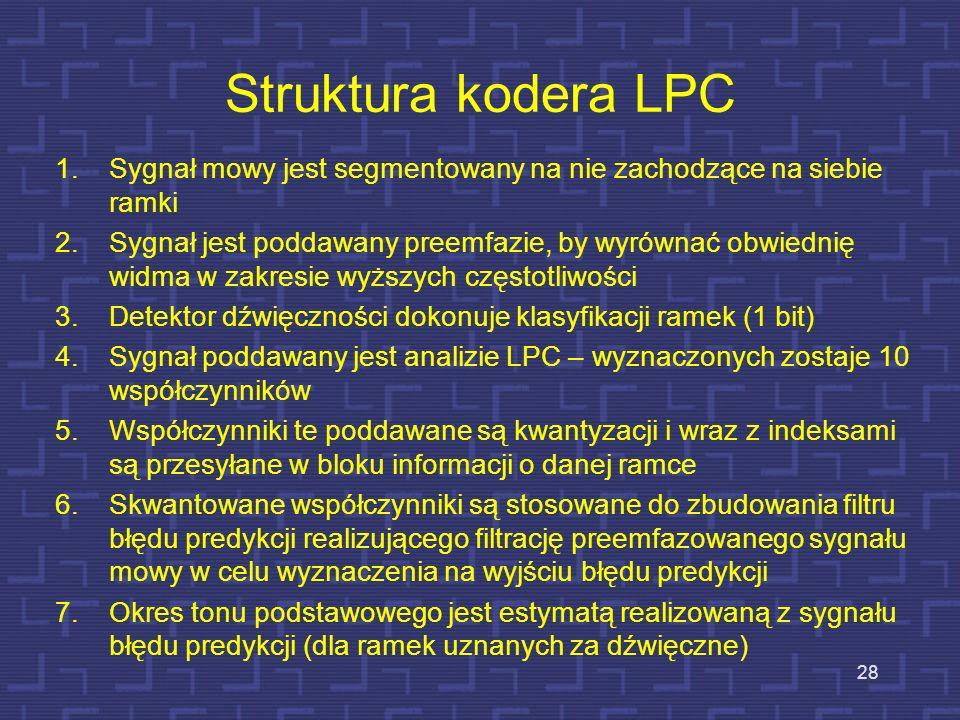 Struktura kodera LPC Sygnał mowy jest segmentowany na nie zachodzące na siebie ramki.